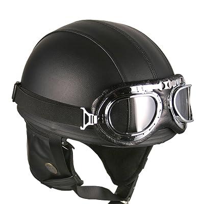 Leather Black Goggles Vintage German Style Half Helmet Motorcycle Biker Cruiser Scooter Touring Helmet