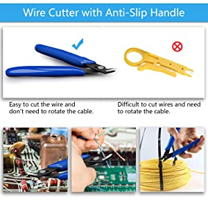 Anbes Soldering Iron Kit, [Upgraded] 60W Adjustable Temperature Welding Tool with ON-OFF Switch, 8-in-1 Screwdrivers, 2pcs Soldering Iron Tips, Solder Sucker, Wire Cutter,Tweezers,Soldering Iron Stand (Color: Blue+Black)