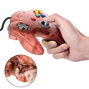2 Packs USB Retro Controllers for N64 Gaming, miadore PC Classic N64 Game Pad Joypad for Windows PC MAC Raspberry Pi (Clear Blue& Red) (Color: Clear Blue and Red)