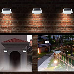 [Upgrade PIR Sensor] MEIHONG 1 Pack Solar Motion Sensor Security Light, Solar Powered Fence Gutter Light, Super Bright 4 LED Solar Light,Night Light,