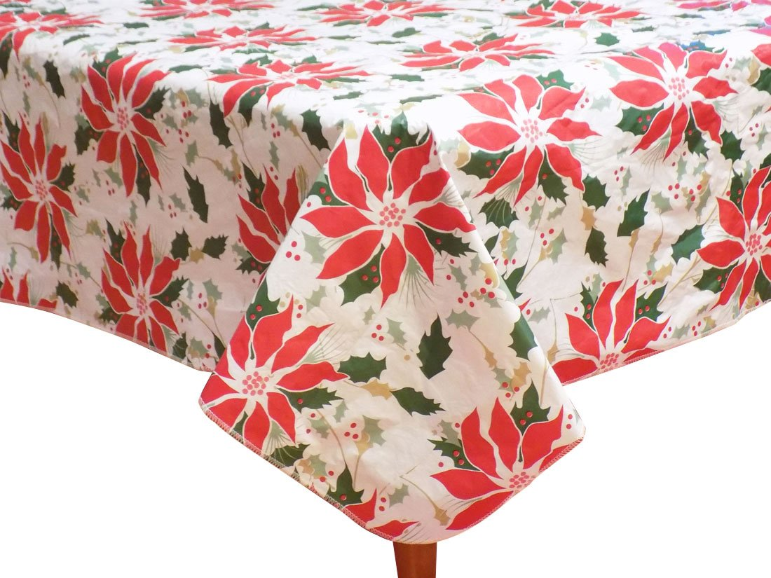 Collection vinyl christmas tablecloths flannel backed for Christmas table cover ideas