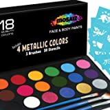 Face Paint Kit Non-Grease 18 Colors Including 4 Metallic 3 Brushes 30 Stencils Face Paints Body Paint Palette Kids Safe Face Painting on Christmas Halloween Facepaint Makeup Costume Birthday Party