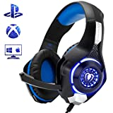 Beexcellent Gaming Headset PS4 Xbox One Nintendo Switch (Audio) PC Gaming Headphone Crystal Stereo Bass Surround Sound, LED Lights & Noise-Isolation Microphone (Color: blueblack)