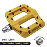 FOOKER Nylon Composite 9/16 Mountain Bike Pedals High-Strength Non-Slip Bicycle Pedals Surface For Road BMX MTB Fixie Bikes (Yellow needle roller bearing) (Color: Yellow needle roller bearing)