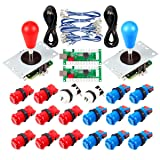 Avisiri 2 Player Arcade Joystick DIY Parts 2X USB Encoder + 2X Elliptical Joystick Hanlde + 18x American Style Arcade Buttons for PC, MAME, Raspberry Pi, Windows (Red & Blue) (Color: Red & Blue)