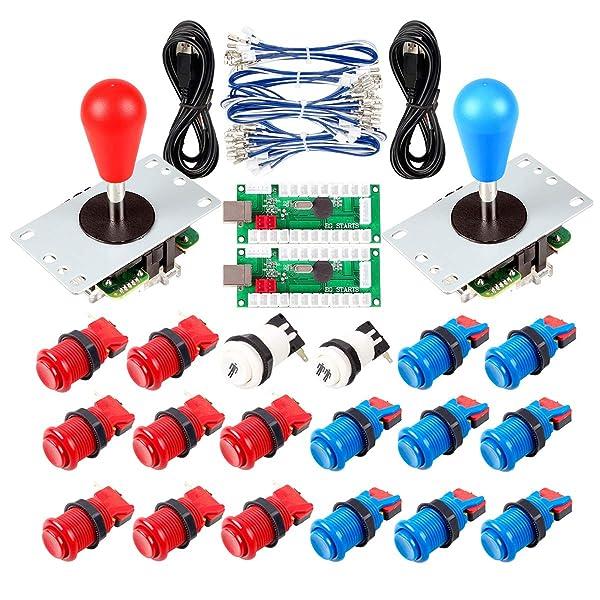 Avisiri 2 Player Arcade Joystick DIY Parts 2X USB Encoder + 2X Elliptical Joystick Hanlde + 18x American Style Arcade Buttons for PC, MAME, Raspberry Pi, Windows (Red & Blue) (Color: Red & Blue)