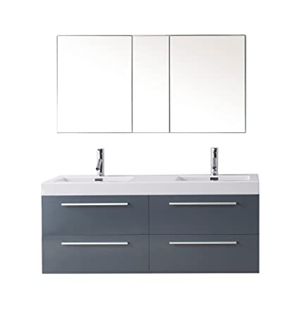 Virtu USA JD-50754-GR Modern 54-Inch Double Sink Bathroom Vanity Set with Polished Chrome Faucet, Grey