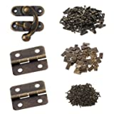 Gizhome 25 Sets Antique Right Latch Hook Hasp and 50 Sets Antique Bronze Small Box Mini Hinges with Replacement Screws for Wood Jewelry Box, Bronze Tone