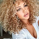 Top Hair Blonde Synthetic Afro Curly Hair Wig For Black Women Short Kinky Hair Jerry Curly Resistance Fiber Blonde Synthetic Wig (Color: Blonde Color, Tamaño: 04M44)