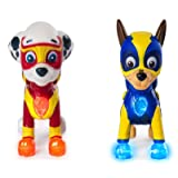 Characters Apparel PAW Patrol Mighty Pups Special Edition Figures with Light-up Badge and Paws, Marshall and Chase Bundle (Color: Multi)