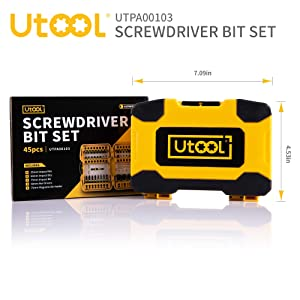 Impact Screwdriver Bit Set, Utool 45pcs Ultratorq Impact Driving Bits Mixed Set including 41 Screwdriver Bits, 3 Magnetic Nut Drivers and 1 Magnetic B