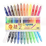 Shuttle Art 24 Colors Gel Crayons, Washable Twistable Non-Toxic Gel Crayons Set for Toddlers Kids and Students, Ideal for Paper Glass and Mirrors (Color: 24 Colors Gel Crayons)
