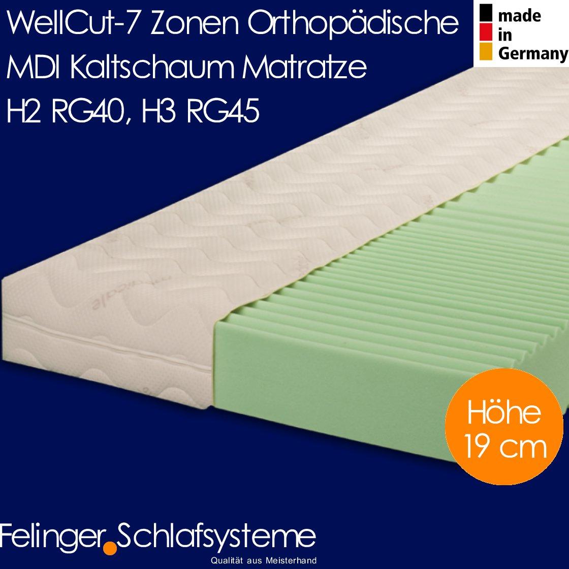 WellCut 7 Zonen orthopädische Kaltschaum Matratze Höhe 19 cm (Kaltschaum H2, 140×200 cm)