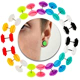 Set Kit Lot of 10 Pairs Cheaters Ear Plugs Fake Illusion O Rings Earrings Ear Studs In Different Colors (Color: Set of 10, Tamaño: Set of 10)