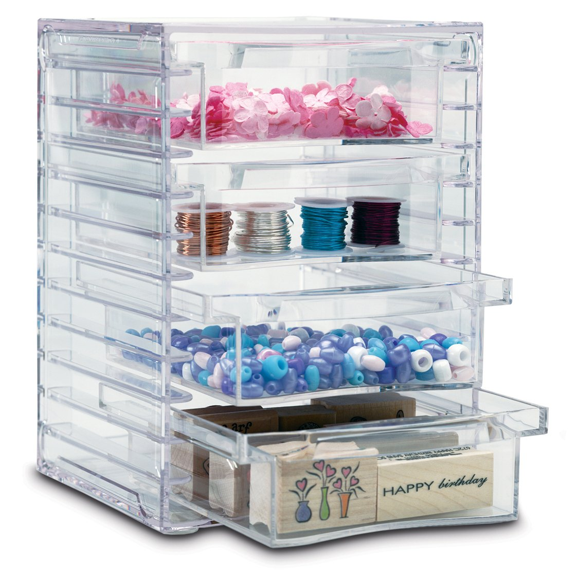 Clear Organizer with 4 Removable Drawers