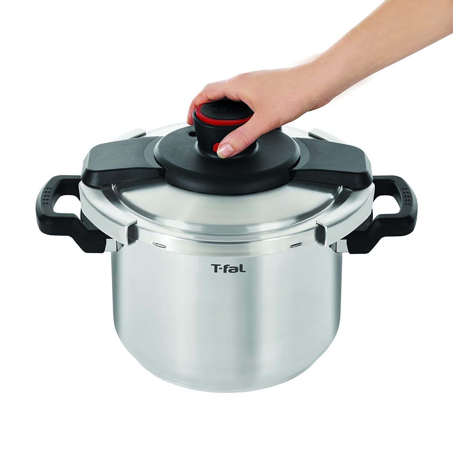 t fal p45007 clipso stainless steel pressure cooker 6 3 quart new free shipp ebay. Black Bedroom Furniture Sets. Home Design Ideas