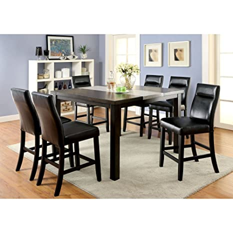 Furniture of America Dewalt Industrial 7 Piece Counter Height Dining Table Set
