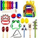 Kids Mini Band Musical Instruments Set, Wooden Percussion Bells, Shakers, Maracas, Xylophone, Rhythm, Educational Learning Toys, Gifts for Age 1, 2, 3, 4, 5, 6, 7 Year Old Girls, Boys & Toddlers