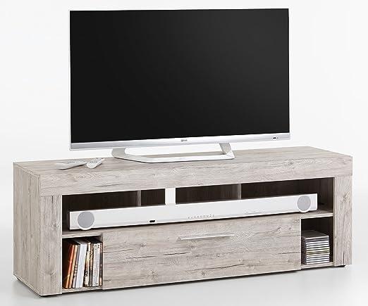 Meuble TV en MDF et panneaux de particules coloris chêne sable- Dim : L 150 x H 53 x P 41,5 cm - PEGANE -