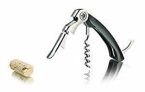 Vacu Vin 6851460 - Sacacorchos de camarero dos tiempos, con corta cápsulas, color negro   revisión y más información