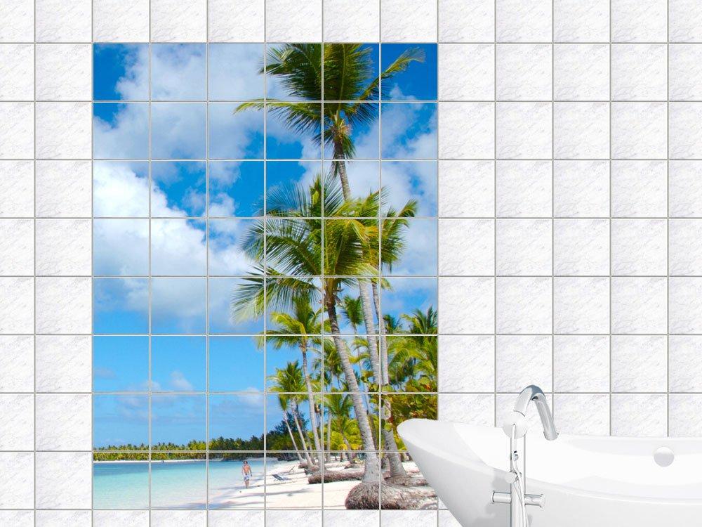 Fliesenaufkleber Natur Fliesensticker Fliesen Dekor Strand mit Palmen und Weißsand Fliesengröße 20x25cm (Anzahl Fliesen = 6 breit und 7 hoch)   Kundenbewertung und weitere Informationen
