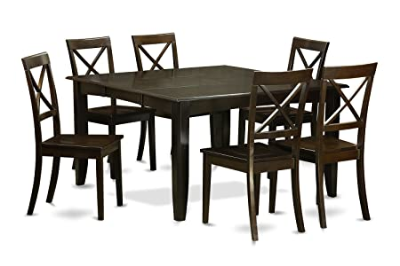 East West Furniture PFBO7-CAP-W 7-Piece Dining Table Set, Cappuccino Finish