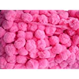 DIYcraft Bright Pink Super Jumbo Pompom Fringe Giant Ball Pom Pom Dangling Trim Sewing Supply (Color: Bright Pink)