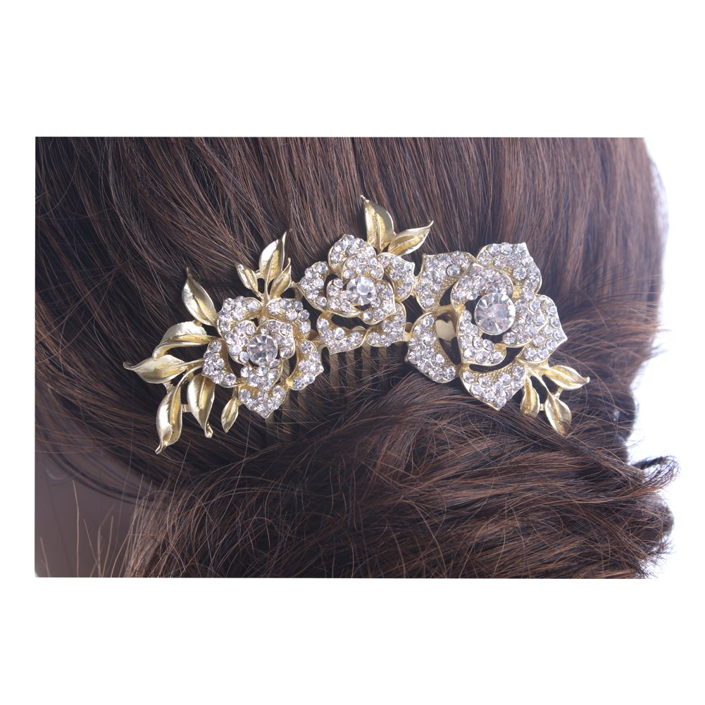 KimmyKu Bridal Hair Accessories Vintage Rose Gold Wedding Party Hair Comb Crystal Vine Bridal 2