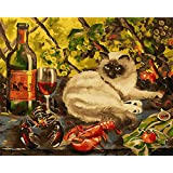 DIY Paint by Numbers for Adults Framed   Komking Paint by Number Kits for Beginner   DIY Canvas Painting Kits for Home Wall Decoration   Gentle Cat 16x20inch (Color: Gentle Cat Framed)