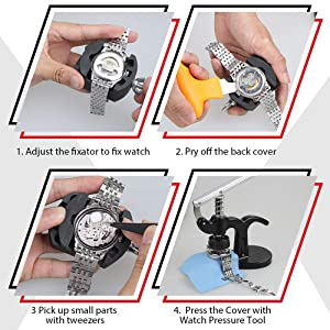Vastar 18 Pcs Watch Press - Watch Repair Kit, Watch Back Case Closer Watch Battery Replacement Tool Kit with 12 Dies, Tweezers