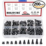 Hilitchi 200-Pcs 6 x 6mm Tactile Push Button Switch Micro Momentary Tact Assortment Kit - 10 Value / 4 Pins