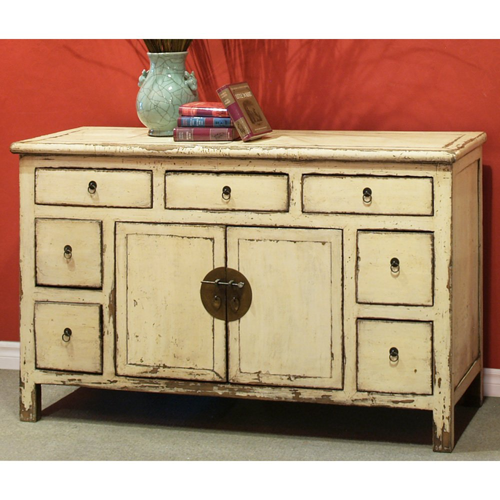 China Furniture Online Elmwood Sideboard, Vintage Hand Crafted Ming Style Cabinet Distressed White Finish 0