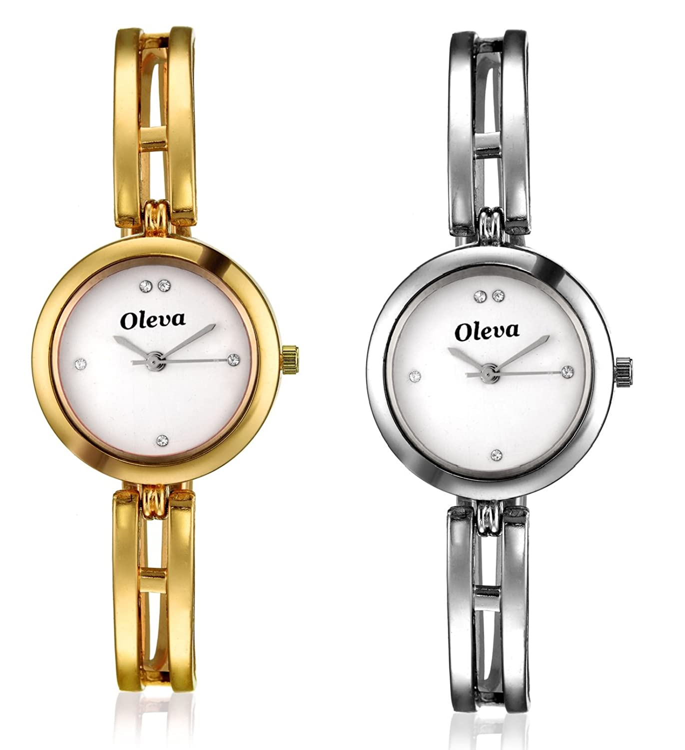 Oleva Ladies Metal Watch combo set 2 low price