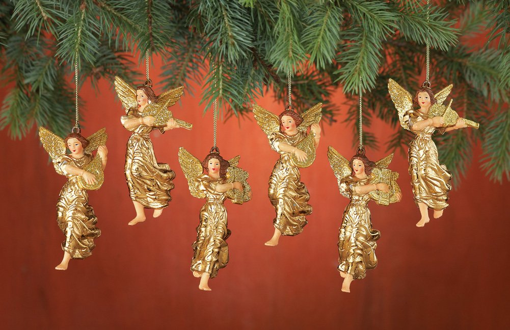 Set Of 6 Gold Angels W/ Instruments Ornament Set