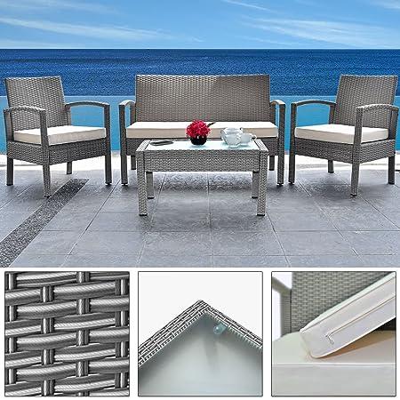 4+1 Polyrattan Gartenmöbel Set Terrasse Wintergarten Balkon Set ✔ wetterbeständiges Aluminium-Gestell ✔ inkl. 2 Stuhle ✔ MODELLAUSWAHL