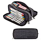 ANGOOBABY Large Pencil Case Big Capacity 3 Compartments Canvas Pencil Pouch for Teen Boys Girls School Students (Black) (Color: Black)