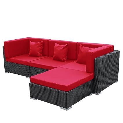 Gartenmoebel Bergen aus Aluminium Garten Moebel Polyrattan Lounge schwarz-rot Sitzgruppe Polyrattan Garten Gartenausstattung von Jet-Line