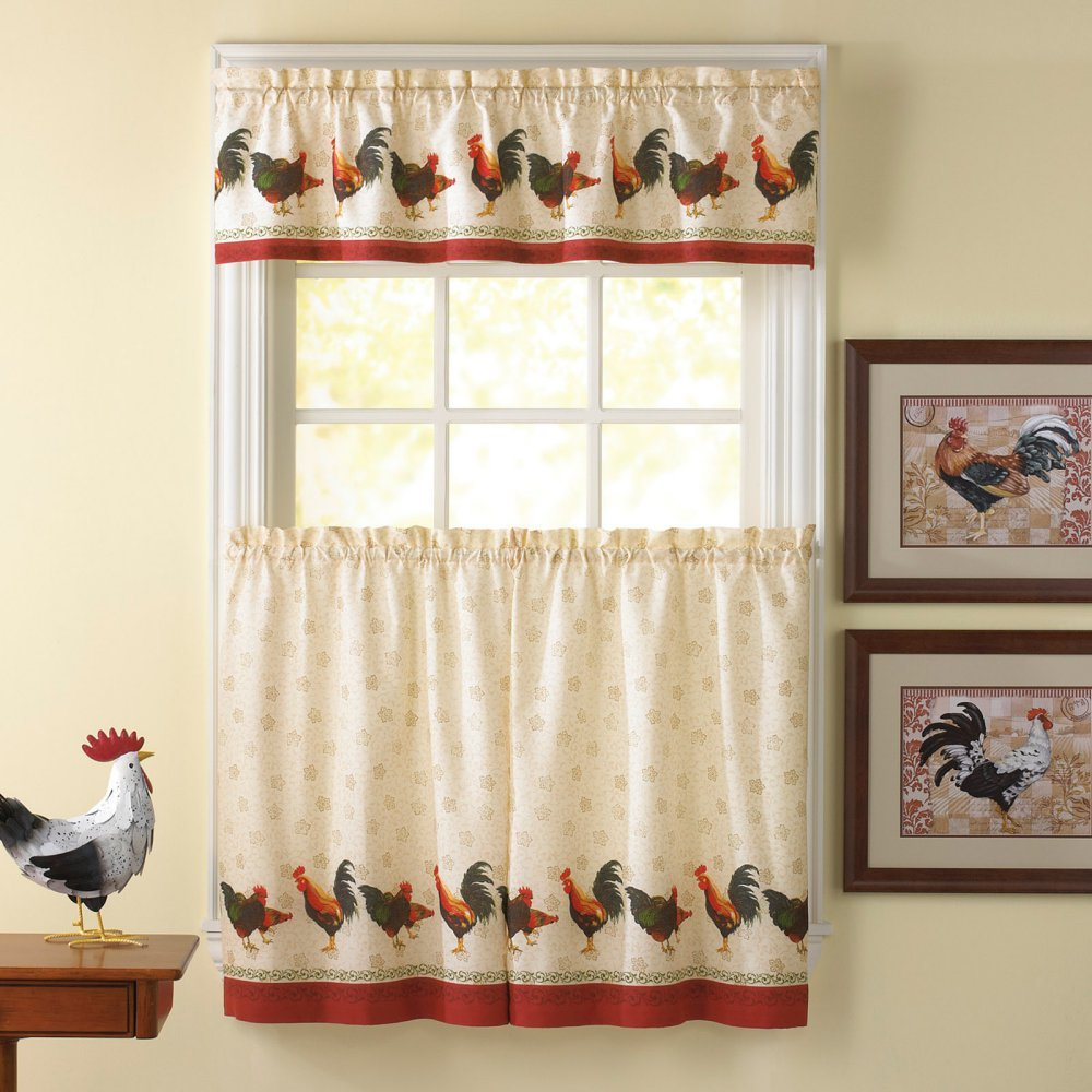 Rooster kitchen curtains shop everything log homes for Kitchen window curtains