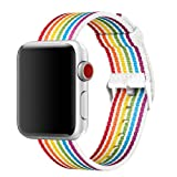 INTENY Newest Woven Nylon Fabric Wrist Strap Replacement Band with Classic Square Stainless Steel Buckle Compatible for Apple iWatch Series 1/2/3,Sport & Edition,38mm, Pride Edition-New Rainbow (Color: sq-new rainbow, Tamaño: 38 mm)