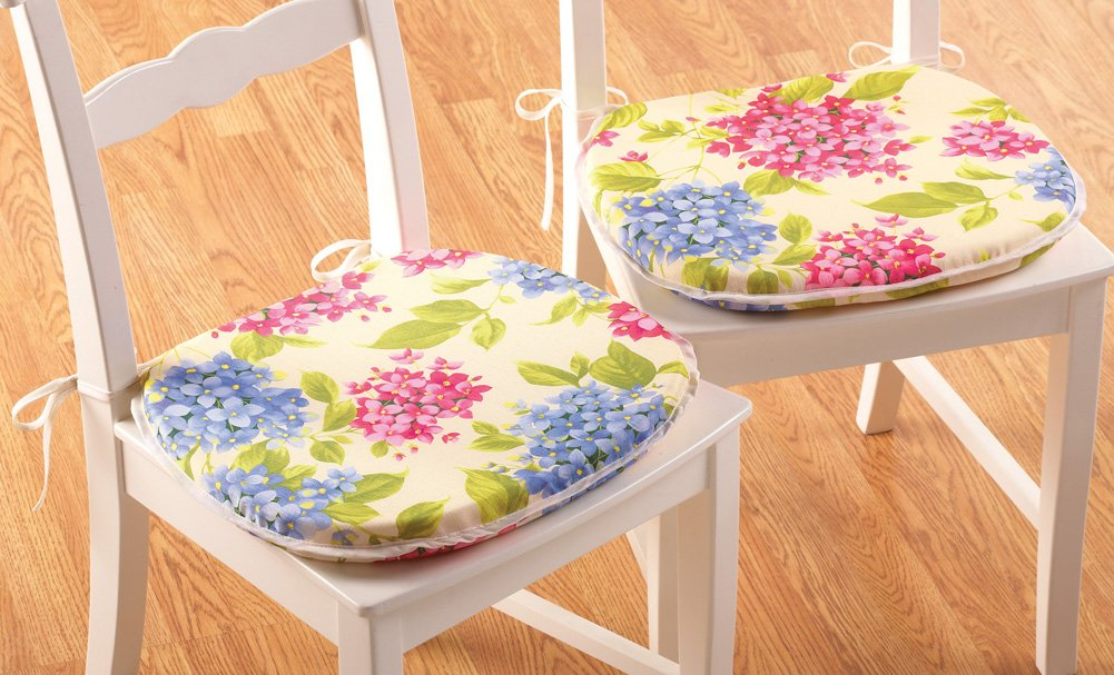 Set Of 2 Hydrangea Floral Kitchen Chair Cushions