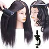 "SILKY 18-22"" Real Hair Mannequin Head with 100% Human Hair Natural Black Dyed Training Head Hairdresser Cosmetology Doll with Free Clamp Stand (Color: #2 Natural Black)"