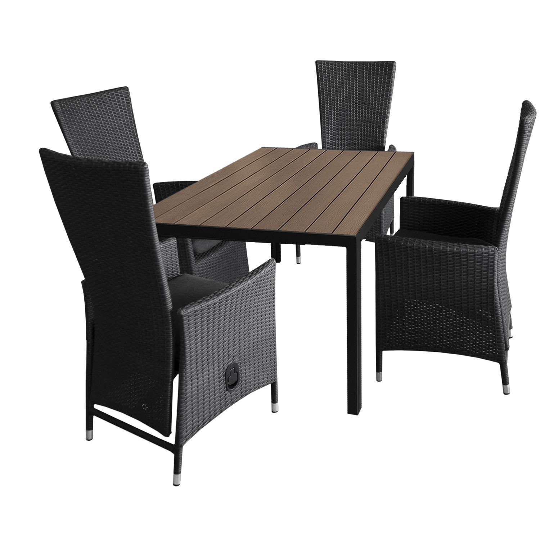 5tlg. Gartengarnitur Aluminium Gartentisch 150x90cm mit Polywood Tischplatte stapelbare Polyrattan Sessel inkl. Sitzkissen