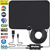 Digital HD TV Antenna, Indoor Amplified HDTV Antenna 60 Miles Range for 1080P 4K Free HD Television Channels with Integrated Amplifier Signal Booster and 16.5Ft Coax Cable - 2018 Upgraded Version (Color: Black)