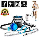 Hands Free Dog Leash, with Training Treat Pouch, Reflective Shock Bungee Endure Up to 150 lbs, Comfort & Safe Dual Handle Waist Belt Collapsible Water Bowl Poop Bag Holder for Running Walking Hiking