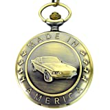 Engraved Made In America Mustang Men's Quartz Pocket Watch Waist Chain with Gift Box