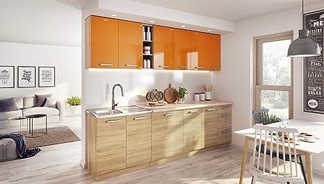Komplett Kuche LUNA260 Schränke mit Arbeitsplatte verschiedene Farben hochglanz/matt (Orange / Sonoma)
