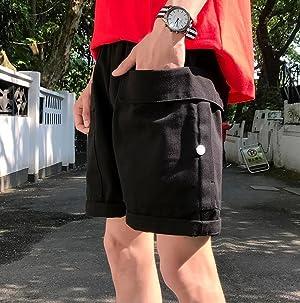 DeBangNi メンズ ハーフパンツ 膝上丈 夏着 短パン ストレート ショートパンツ 無地 スポーツウェア 大ポケット シンプル ボトムス 半ズボン ゆったり おしゃれ カジュアル