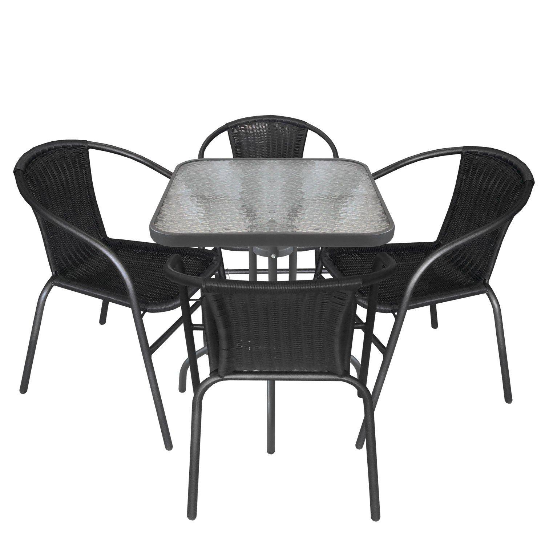5tlg. Gartengarnitur Balkonmöbel Terrassenmöbel Set Sitzgruppe Poly-Rattan Stapelstuhl Bistrotisch geriffelte Tischglasplatte 60x60cm günstig bestellen