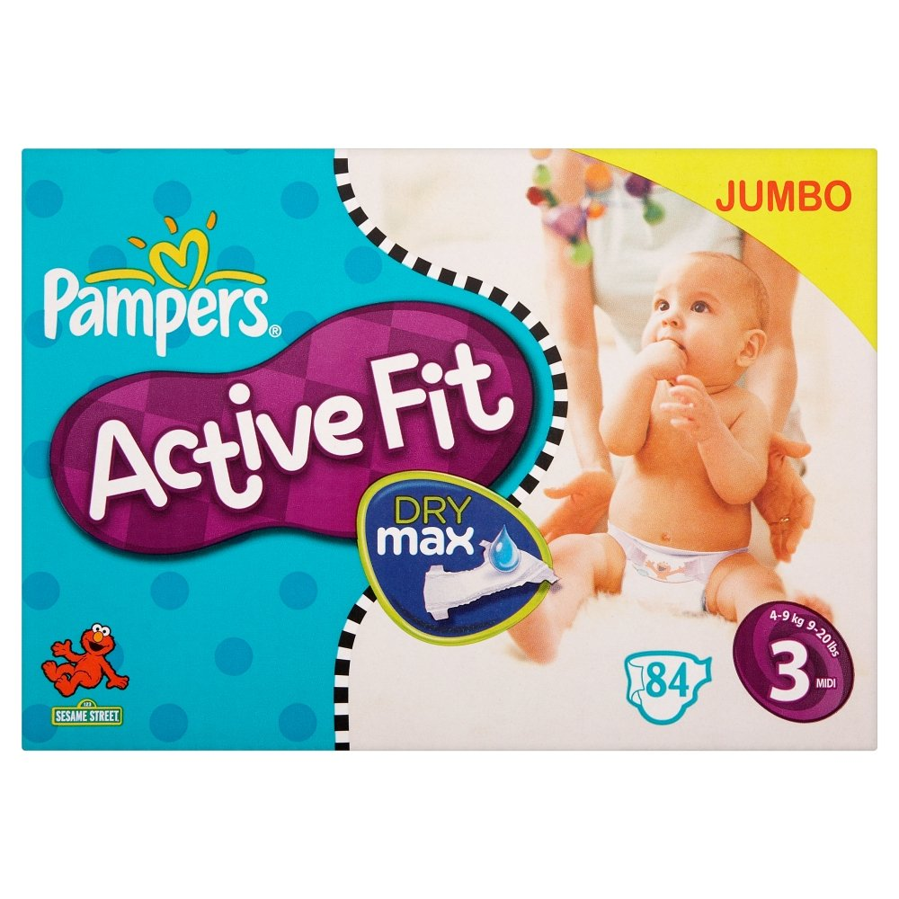 pampers active fit size 3 9 20 lbs 4 9 kg nappies jumbo pack of 84 nappies. Black Bedroom Furniture Sets. Home Design Ideas