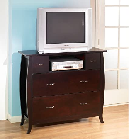 Solid Wood Cherry Finish Media Chest Drawers TV Stand Fully Assembled